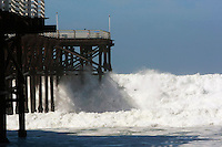 Large surf closed Cyrstal Pier in Pacific Beach to the public on Monday February 25 2008.