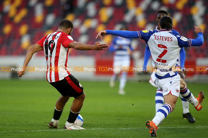 Bryan Mbeumo scores Brentford's second goal during Brentford vs Reading, Sky Bet EFL Championship Football at the Brentford Community Stadium on 19th December 2020