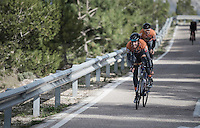 riders/teams preparing for the 2017 season on the Coll de Rates (alt 626m/Alicante/Spain) in january