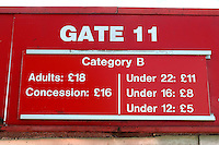 Admission prices on Gate 11 during Stevenage vs Crewe Alexandra, EFL League 2 Football at the Lamex Stadium on 6th August 2016