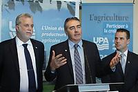 March 18, 2014 - Philippe Couillard, Liberal leader adress the UPA during the electoral campaign.<br /> <br /> Philippe Couillard devant l'UPA et ses 38 groupes affiliés<br /> <br /> L-R : Couillard, Marcel Groleau, PDG, UPA, Stephane Billette, PLQ<br /> <br /> Photo : Pierre Roussel