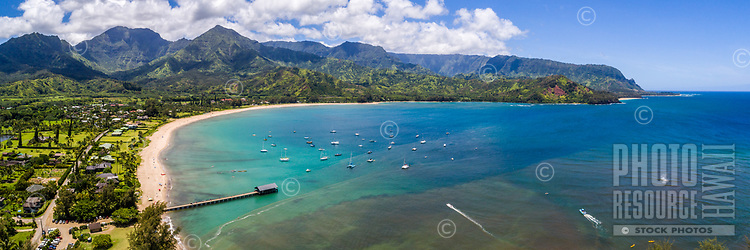 Hanalei Bay and Pier as seen from the air on a perfect summer morning, Kaua'i.