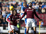 Hearts v St Johnstone…19.03.16  Tynecastle, Edinburgh<br />Brian Easton beats Juanma Delgado to the ball<br />Picture by Graeme Hart.<br />Copyright Perthshire Picture Agency<br />Tel: 01738 623350  Mobile: 07990 594431