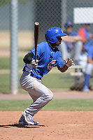 Chicago Cubs outfielder Shawn Dunston Jr. (20) at bat during an Instructional League game against the Arizona Diamondbacks on October 5, 2013 at Salt River Fields at Talking Stick in Scottsdale, Arizona.  (Mike Janes/Four Seam Images)