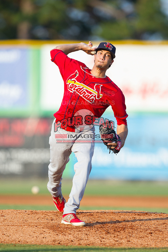 Johnson City Cardinals starting pitcher Dailyn Martinez (19) in action against the Burlington Royals at Burlington Athletic Park on July 14, 2014 in Burlington, North Carolina.  The Cardinals defeated the Royals 9-4.  (Brian Westerholt/Four Seam Images)