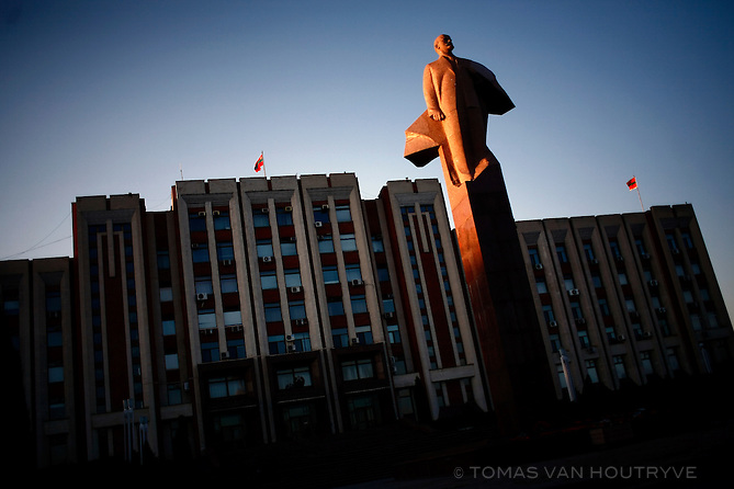A statue of Vladimir Lenin is seen in front of the Soviet Supreme building which is used by the President and Parliament of the unrecognized Pridnestrovian Molodovan Republic in Tiraspol, Transnistria on 22 April 2009, the 139th anniversary of Lenin's birthday.