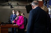 Speaker of the United States House of Representatives Nancy Pelosi (Democrat of California) is joined by Bicameral Democratic Leaders for a press conference ahead of House passage of H.R. 5 - the Equality Act, at the U.S. Capitol in Washington, DC, Thursday, February 25, 2021. Credit: Rod Lamkey / CNP /MediaPunch