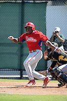 Philadelphia Phillies infielder William Carmona (31) during a minor league spring training game against the Pittsburgh Pirates on March 18, 2014 at the Carpenter Complex in Clearwater, Florida.  (Mike Janes/Four Seam Images)
