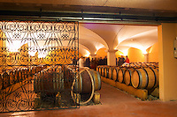 The barrel aging cellar with vaulted ceiling. Domaine Gilles Robin, Les Chassis, Mercurol, Drome, Drôme, France, Europe