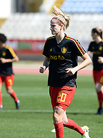 20180228 - LARNACA , CYPRUS :  Belgian Justine Vanhaevermaet  pictured during warming up of the women's soccer game between The Belgian Red Flames and the Czech Republic , on wednesday 28 February 2018 at GSZ Stadium in Larnaca , Cyprus . This is the first game in group B for Belgium during the Cyprus Womens Cup , a prestigious women soccer tournament as a preparation on the World Cup 2019 qualification duels. PHOTO SPORTPIX.BE   DAVID CATRY
