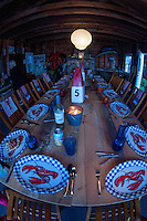 Table Set for Lobster Dinner in Boathouse, Castine, Maine, US
