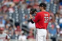 Texas Tech Red Raiders pitcher Caleb Kilian (32) looks to his catcher for the sign during Game 5 of the NCAA College World Series against the Arkansas Razorbacks on June 17, 2019 at TD Ameritrade Park in Omaha, Nebraska. Texas Tech defeated Arkansas 5-4. (Andrew Woolley/Four Seam Images)