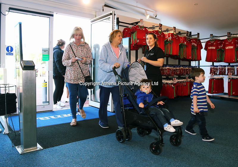 Pictured: Shoppers enter the store. Saturday 01 July 2017<br /> Re: The new 2017-2018 season, Swansea City FC kit has officially gone on sale at the club's Liberty Stadium shop, Wales, UK