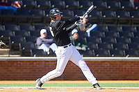 Matt Conway (25) of the Wake Forest Demon Deacons follows through on his swing against the Youngstown State Penguins at Wake Forest Baseball Park on February 24, 2013 in Winston-Salem, North Carolina.  The Demon Deacons defeated the Penguins 6-5.  (Brian Westerholt/Four Seam Images)