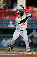 Akron RubberDucks catcher Tony Wolters (1) at bat during a game against the Erie SeaWolves on May 17, 2014 at Jerry Uht Park in Erie, Pennsylvania.  Erie defeated Akron 2-1.  (Mike Janes/Four Seam Images)