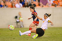 Houston, TX - Sunday Oct. 09, 2016: Diana Matheson, Abby Erceg during the National Women's Soccer League (NWSL) Championship match between the Washington Spirit and the Western New York Flash at BBVA Compass Stadium.