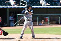 Peoria Javelinas second baseman Keston Hiura (23), of the Milwaukee Brewers organization, at bat during an Arizona Fall League game against the Surprise Saguaros at Surprise Stadium on October 17, 2018 in Surprise, Arizona. (Zachary Lucy/Four Seam Images)