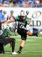 Miami Central Rockets kicker Emilio Nadelman #13 kicks an extra point during the second quarter of the Florida High School Athletic Association 6A Championship Game at Florida's Citrus Bowl on December 17, 2011 in Orlando, Florida.  The score at halftime is Armwood 16 - Miami Central 14.  (Mike Janes/Four Seam Images)