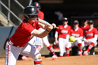 GREENSBORO, NC - FEBRUARY 22: Mikayla Rubin #8 of Fairfield University lays down a bunt during a game between Fairfield and North Carolina at UNCG Softball Stadium on February 22, 2020 in Greensboro, North Carolina.