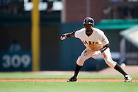12 April 2008: #8 Eugenio Velez of the Giants takes a lead as he tries to steal the second base during the St. Louis Cardinals 8-7 victory over the San Francisco Giants at the AT&T Park in San Francisco, CA.