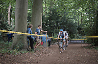Michael Vanthourenhout (BEL/Marlux-NapoleonGames) leading the race ahead of World Champion Wout Van Aert (BEL/Crelan-Vastgoedservice) <br /> <br /> Brico-cross Geraardsbergen 2016