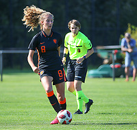Quinty Dupon (8) of the Netherlands in action during an international friendly female soccer game between the national teams of Belgium , called the Red Flames U17 and the Netherlands on Wednesday 8th of September 2020  in Kalmthout , Belgium . PHOTO SPORTPIX.BE | SPP | SEVIL OKTEM