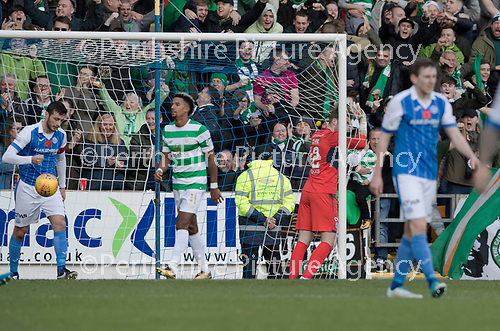 St Johnstone v Celtic…04.11.17…  McDiarmid Park…  SPFL<br />Zander Clark reacts after conceding a third goal<br />Picture by Graeme Hart. <br />Copyright Perthshire Picture Agency<br />Tel: 01738 623350  Mobile: 07990 594431