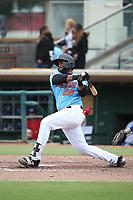 Devin Davis (22) of the Inland Empire 66ers bats against the Stockton Ports at San Manuel Stadium on May 26, 2019 in San Bernardino, California. (Larry Goren/Four Seam Images)