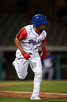 Stockton Ports designated hitter Melvin Mercedes (37) hustles down the first base line during a California League game against the Rancho Cucamonga Quakes at Banner Island Ballpark on May 16, 2018 in Stockton, California. Rancho Cucamonga defeated Stockton 6-3. (Zachary Lucy/Four Seam Images)