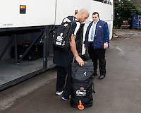 Photo: Richard Lane/Richard Lane Photography. London Wasps depart for Abu Dhabi for their LV= Cup game against Harlequins on 30st January 2011. 25/01/2011. London Wasps' Tom Varndell loads his bags with the held of  Les the Bus onto the team coach journey for Abu Dhabi.