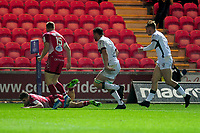 Corey Baldwin of Scarlets scores his sides first try during the European Rugby Challenge Cup Round 1 match between the Scarlets and London Irish at Parc Y Scarlets in Llanelli, Wales, UK. Saturday 16th November 2019