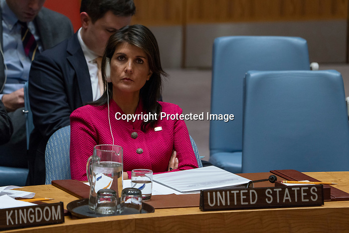 Security Council Considers Letter from United Kingdom<br /> Wide view of the Security Council meeting considering the letter dated 13 March 2018 from the Permanent Mission of the United Kingdom of Great Britain and Northern Ireland to the United Nations.