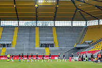 team Germany entering the field before a friendly female soccer game between the national teams of Germany and  Belgium , called the Red Flames  in a pre - bid tournament called Three Nations One Goal with the national teams from Belgium , The Netherlands and Germany towards a bid for the hosting of the 2027 FIFA Women's World Cup , on Sunday 21 st of February 2021  in Aachen , Germany . PHOTO SPORTPIX.BE   SPP   STIJN AUDOOREN