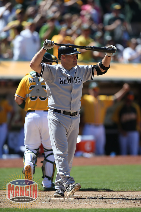 OAKLAND, CA - JUNE 13:  Kevin Youkilis #36 of the New York Yankees reacts after striking out against the Oakland Athletics during the game at O.co Coliseum on Thursday June 13, 2013 in Oakland, California. Photo by Brad Mangin
