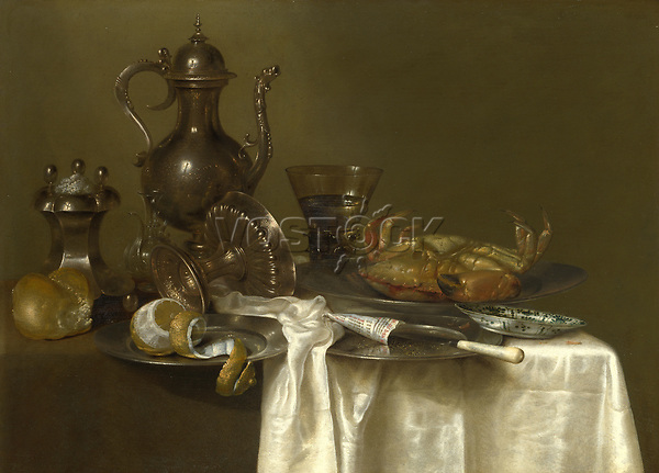 Full title: Still Life: Pewter and Silver Vessels and a Crab<br /> Artist: Willem Claesz. Heda<br /> Date made: probably about 1633-7<br /> Source: http://www.nationalgalleryimages.co.uk/<br /> Contact: picture.library@nationalgallery.co.uk<br /> <br /> Copyright © The National Gallery, London