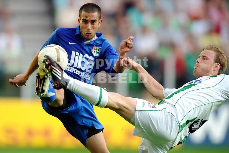 voetbal fc groningen nec play off eredivisie seizoen 2007-2008 11-05-2008  stenman in duel..fotograaf Jan Kanning.. ..