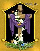 Randy, EASTER RELIGIOUS, OSTERN RELIGIÖS, PASCUA RELIGIOSA, paintings+++++Draped-Cross-with-Gold-Frame,USRW60,#ER#