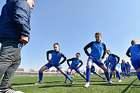 players of KRC Genk  pictured during the warming up of a female soccer game between SV Zulte - Waregem and KRC Genk Ladies on the 2nd matchday in play off 2 of the 2020 - 2021 season of Belgian Scooore Womens Super League , saturday 17 th of April 2021  in Zulte , Belgium . PHOTO SPORTPIX.BE | SPP | DIRK VUYLSTEKE