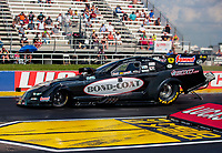 Jul 18, 2020; Clermont, Indiana, USA; NHRA funny car driver Chad Green during qualifying for the Summernationals at Lucas Oil Raceway. Mandatory Credit: Mark J. Rebilas-USA TODAY Sports