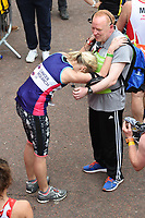Jenni Falconer<br /> carried away by St John's Ambulance at the finish line on The Mall at the 2017 London Marathon, London. <br /> <br /> <br /> ©Ash Knotek  D3254  23/04/2017