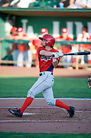Matt McCann (1) of the Orem Owlz bats against the Ogden Raptors in Pioneer League action at Lindquist Field on June 21, 2017 in Ogden, Utah. The Owlz defeated the Raptors 16-5. This was Opening Night at home for the Raptors.  (Stephen Smith/Four Seam Images)