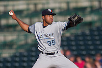 West Michigan Whitecaps pitcher Sandy Baez (35) delivers a pitch to the plate against the Fort Wayne TinCaps on May 23, 2016 at Parkview Field in Fort Wayne, Indiana. The TinCaps defeated the Whitecaps 3-0. (Andrew Woolley/Four Seam Images)