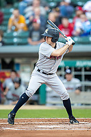 Billy Burns (17) of the Scranton/Wilkes-Barre RailRiders at bat at Victory Field on May 14, 2019 in Indianapolis, Indiana. The Indians defeated the RailRiders 4-2. (Andrew Woolley/Four Seam Images)