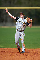 St. Olaf Oles second baseman Jake Ossell (7) during the first game of a doubleheader against the Union Dutchmen on February 20, 2016 at Lake Myrtle Park in Auburndale, Florida.  Union defeated St. Olaf 7-2.  (Mike Janes/Four Seam Images)