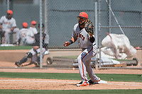 San Francisco Giants first baseman Robinson Medrano (22) during a Minor League Spring Training game against the Oakland Athletics at Lew Wolff Training Complex on March 26, 2018 in Mesa, Arizona. (Zachary Lucy/Four Seam Images)
