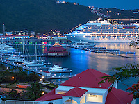 View of boat harbor at dusk in Charlotte Amalle. St. Thomas, US Virgin Islands.