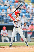 Hagerstown Suns third baseman Trey Vickers (30) awaits a pitch during a game against the Asheville Tourists at McCormick Field on April 30, 2019 in Asheville, North Carolina. The Tourists defeated the Suns 5-4. (Tony Farlow/Four Seam Images)