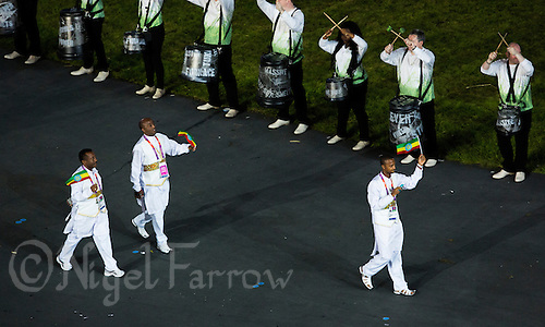 27 JUL 2012 - LONDON, GBR - Competitors from Ethiopia walk into the Olympic Stadium during the Opening Ceremony of the London 2012 Olympic Games in Stratford, London, Great Britain .(PHOTO (C) 2012 NIGEL FARROW)