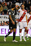 Rayo Vallecano´s Antonio Amaya and Malaga CF´s Marcos Alberto Angeleri during 2014-15 La Liga match between Rayo Vallecano and Malaga CF at Rayo Vallecano stadium in Madrid, Spain. March 21, 2015. (ALTERPHOTOS/Luis Fernandez)