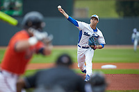 Duke Blue Devils starting pitcher Ryan Day (13) in action against the Virginia Cavaliers in Game Seven of the 2017 ACC Baseball Championship at Louisville Slugger Field on May 25, 2017 in Louisville, Kentucky. The Blue Devils defeated the Cavaliers 4-3. (Brian Westerholt/Four Seam Images)